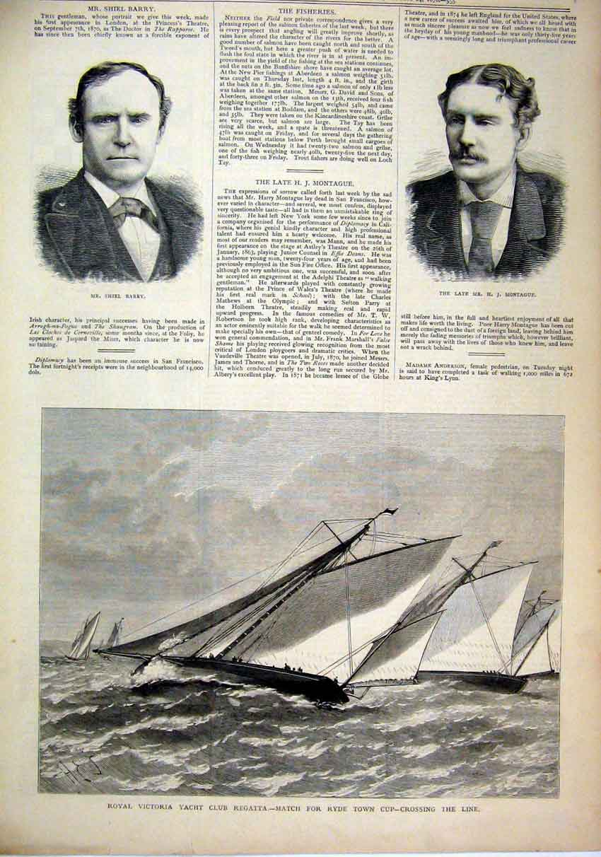Print 1878 Royal Victoria Yacht Club Regatta Ryde Town Cup 95Mar1 Old Original