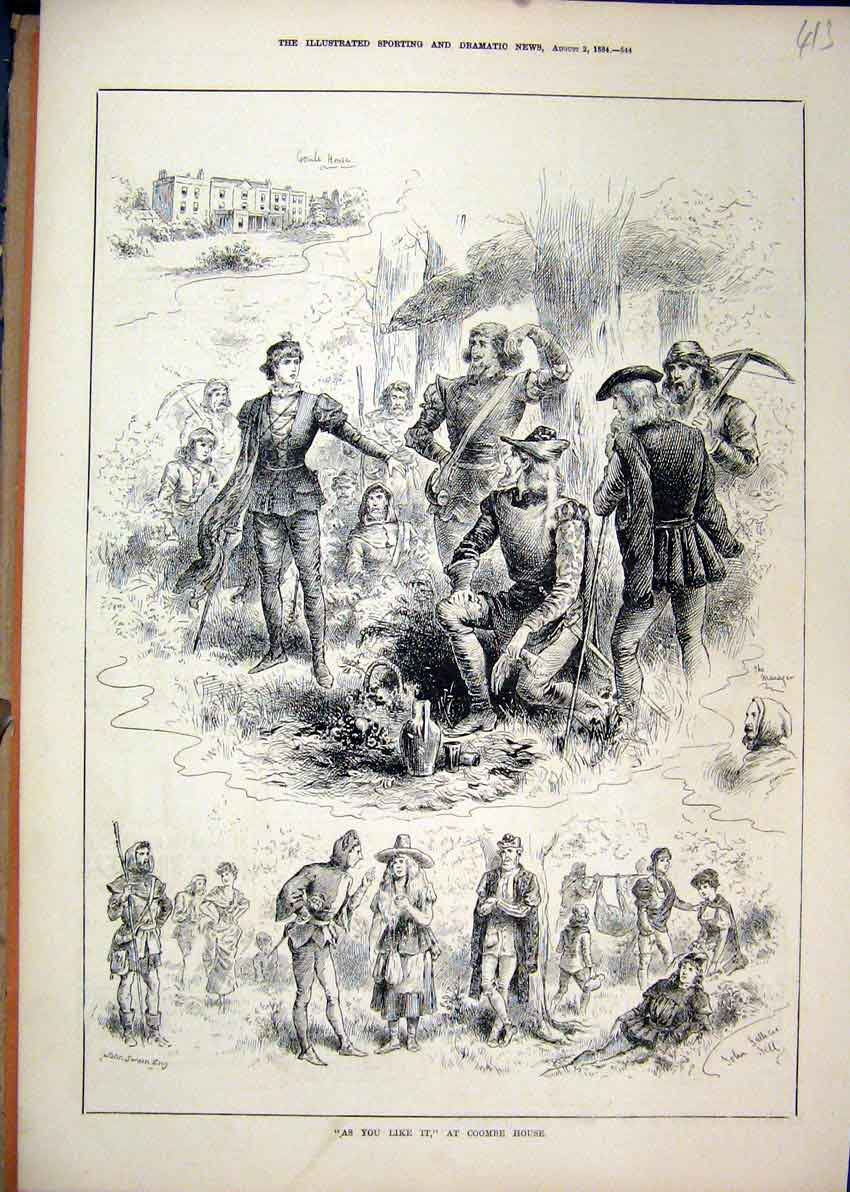 Print Theatre As Like It 1884 Coombe House Medieval Jester 13Mar1 Old Original