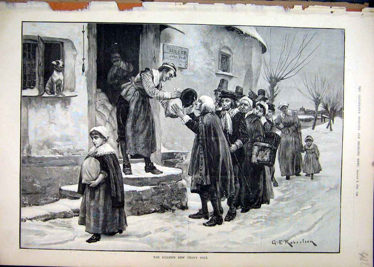 Print 1891 Miller Flour Poor People Steet Scene Snow 22Mar1 Old Original