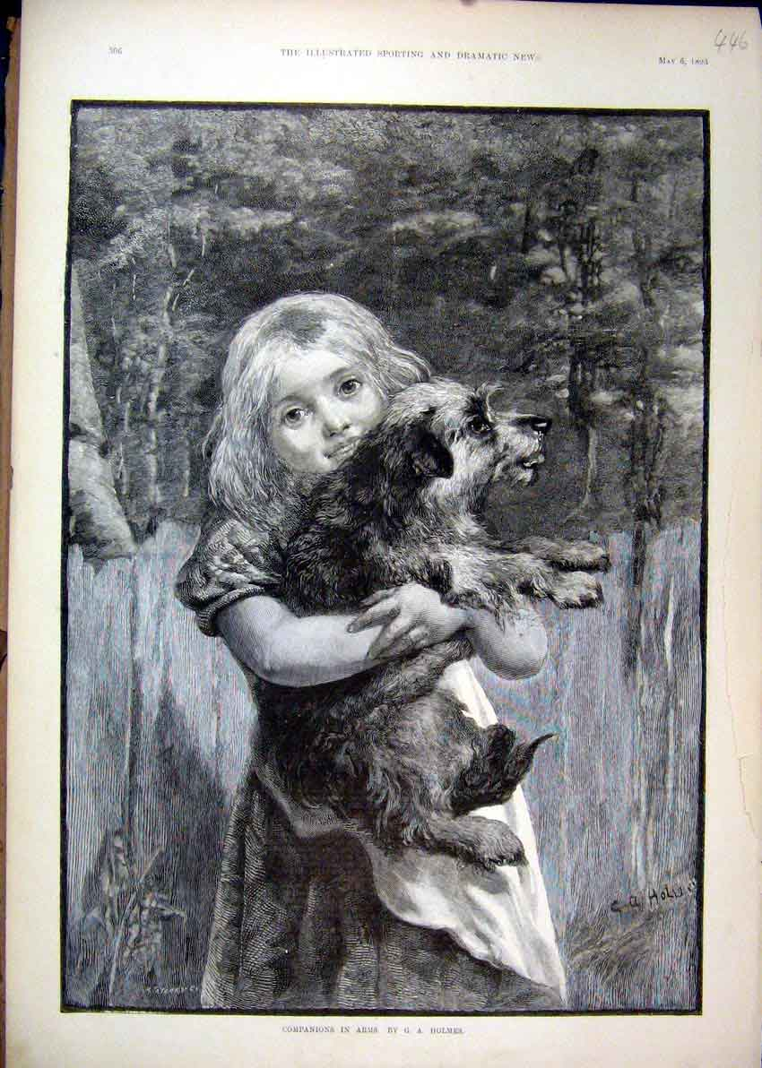 [Print 1893 Young Girl Holding Dog Country Scene Fine Art 46Mar1 Old Original]