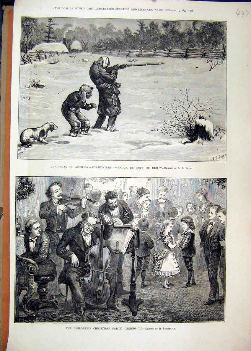 Print 1877 Children Christmas Party Music Pot-Hunters America 47Mar1 Old Original