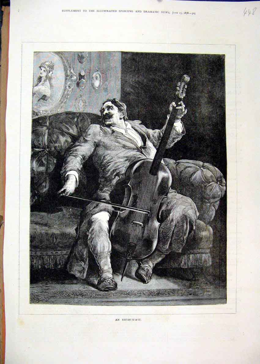 Print 1878 Man Sitting Chair Playing Music Fine Art 48Mar1 Old Original