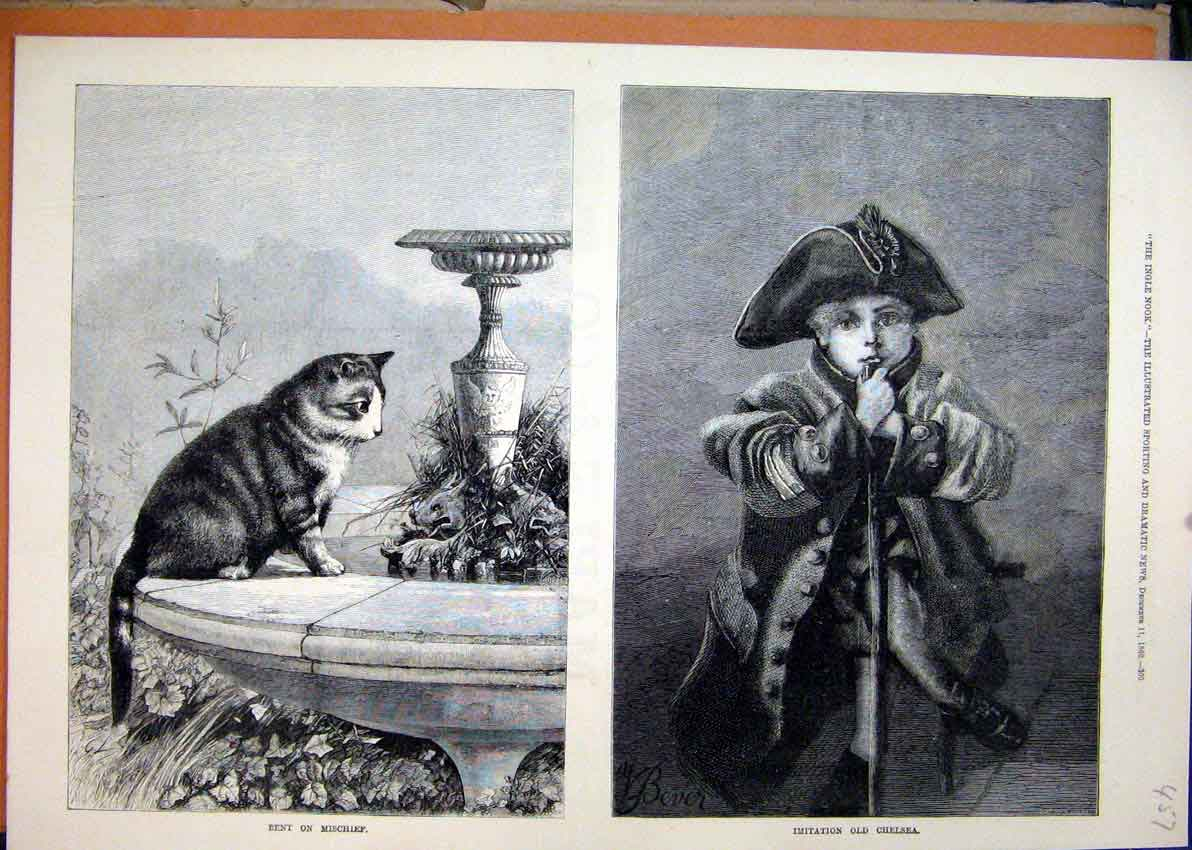 Print Cat Sitting Fountain 1880 Young Boy Soldiers Outfit 57Mar1 Old Original