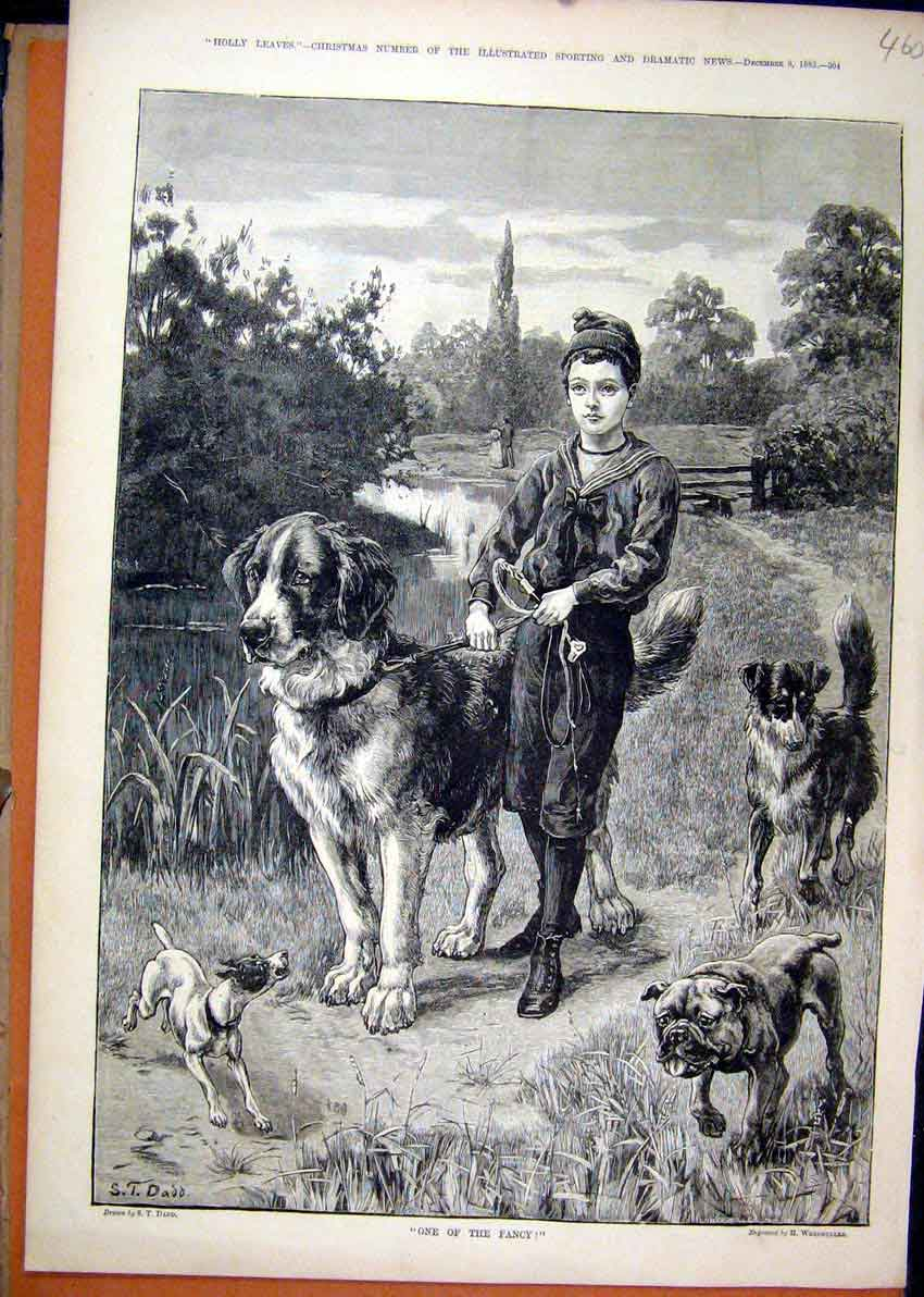 Print 1883 Young Boy Walking Big Dogs Country Scene Fine Art 60Mar1 Old Original