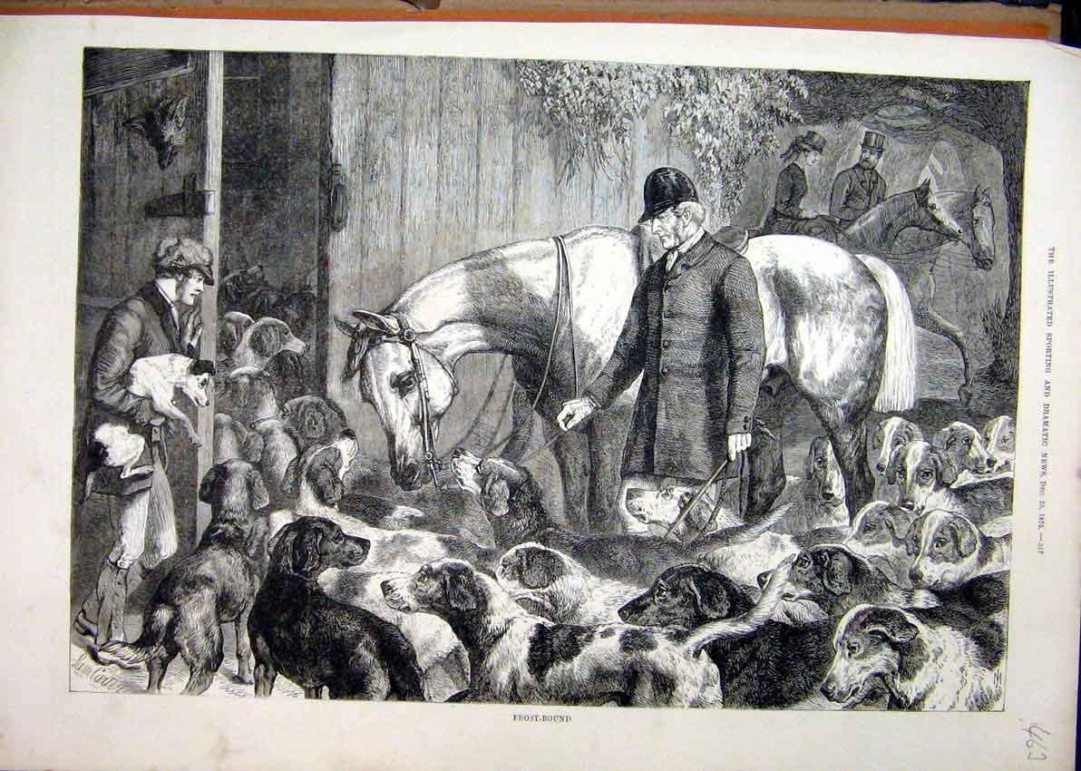 Print 1875 Hunting Frost Dogs Horse Man Stable 63Mar1 Old Original