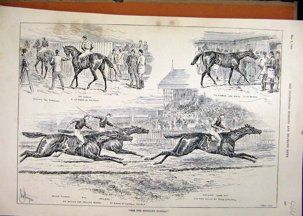 Print 1891 Horse Racing Two Thousand Guineas Grand Stand 64Mar1 Old Original