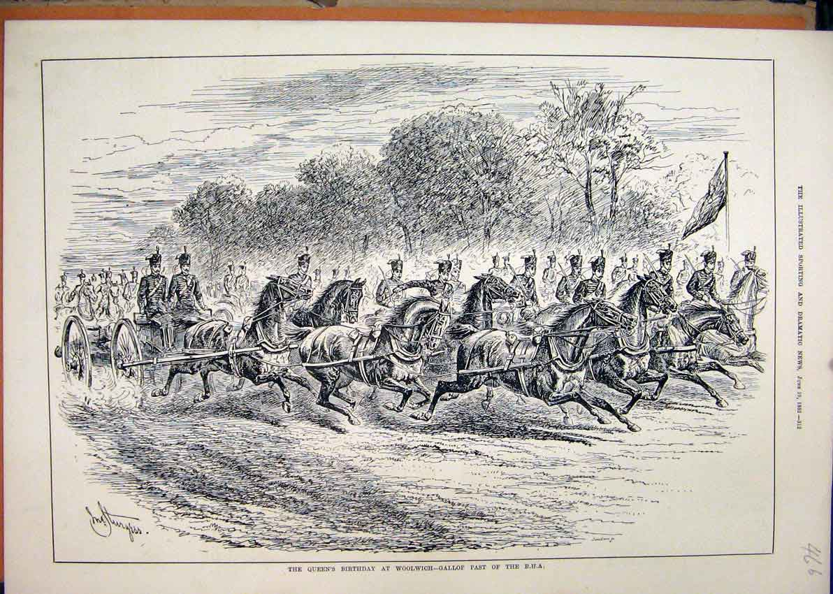 Print 1882 Queens Birthday Woolwich Gallop Horses Soldiers 66Mar1 Old Original