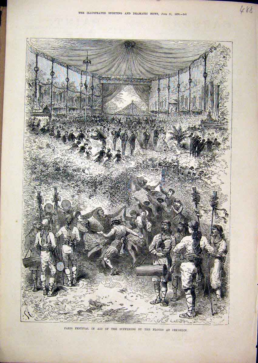 Print 1879 Paris Festival Sufferers Floods Szegedin Concert 88Mar1 Old Original