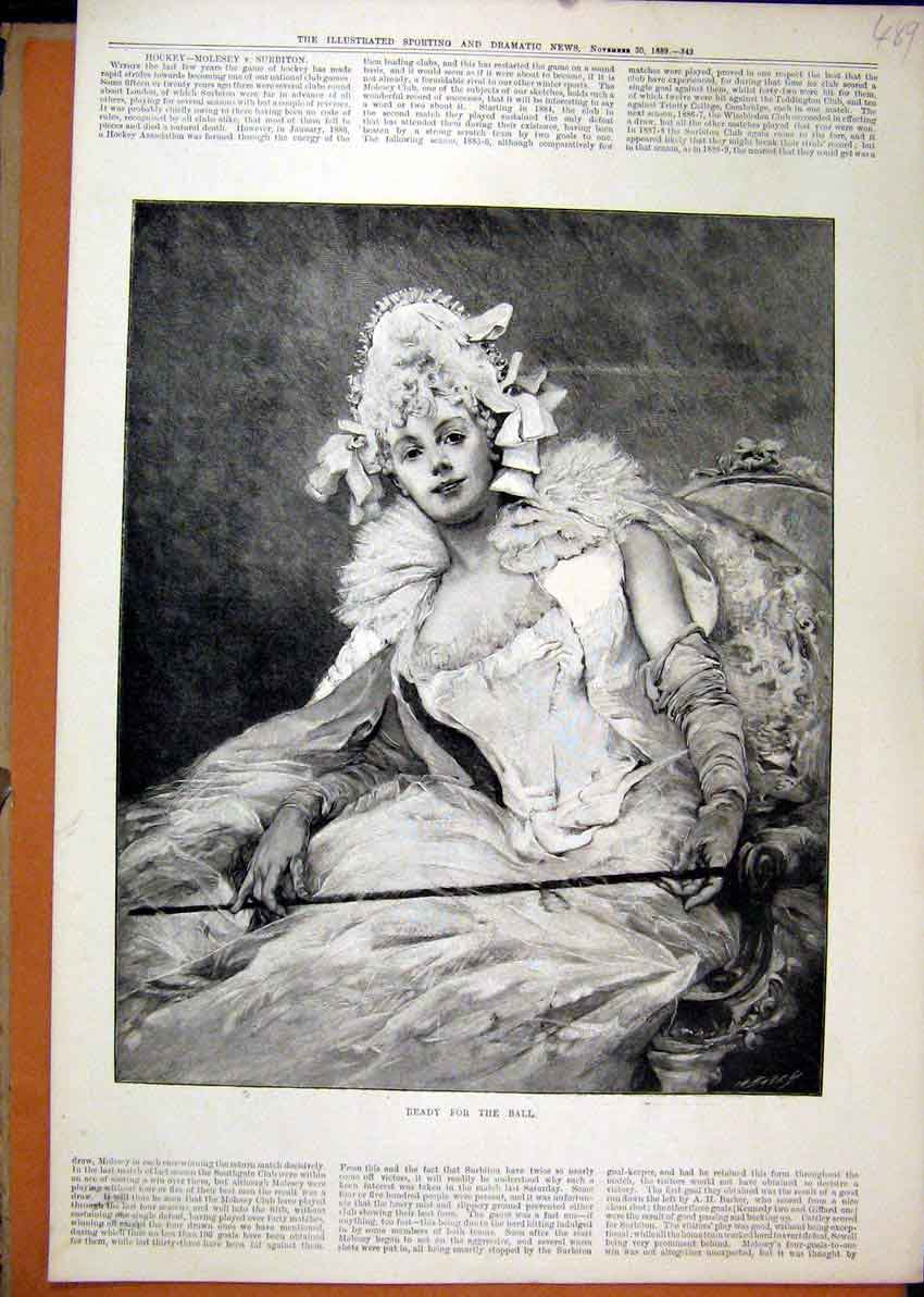 Print Woman Beautiful Dress Ball 1889 Sitting Chair Fine Art 89Mar1 Old Original