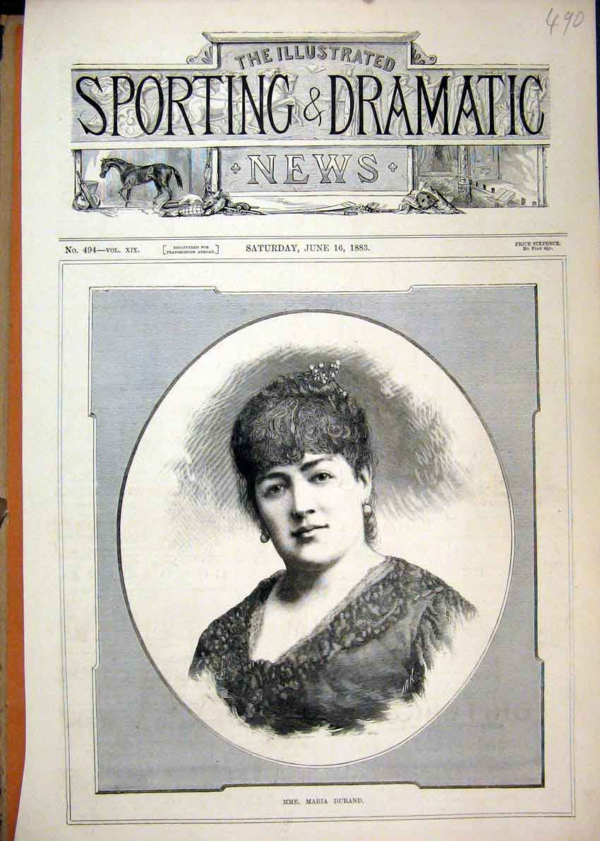 Print Portrait Maria Durand 1883 Earings Dress 90Mar1 Old Original