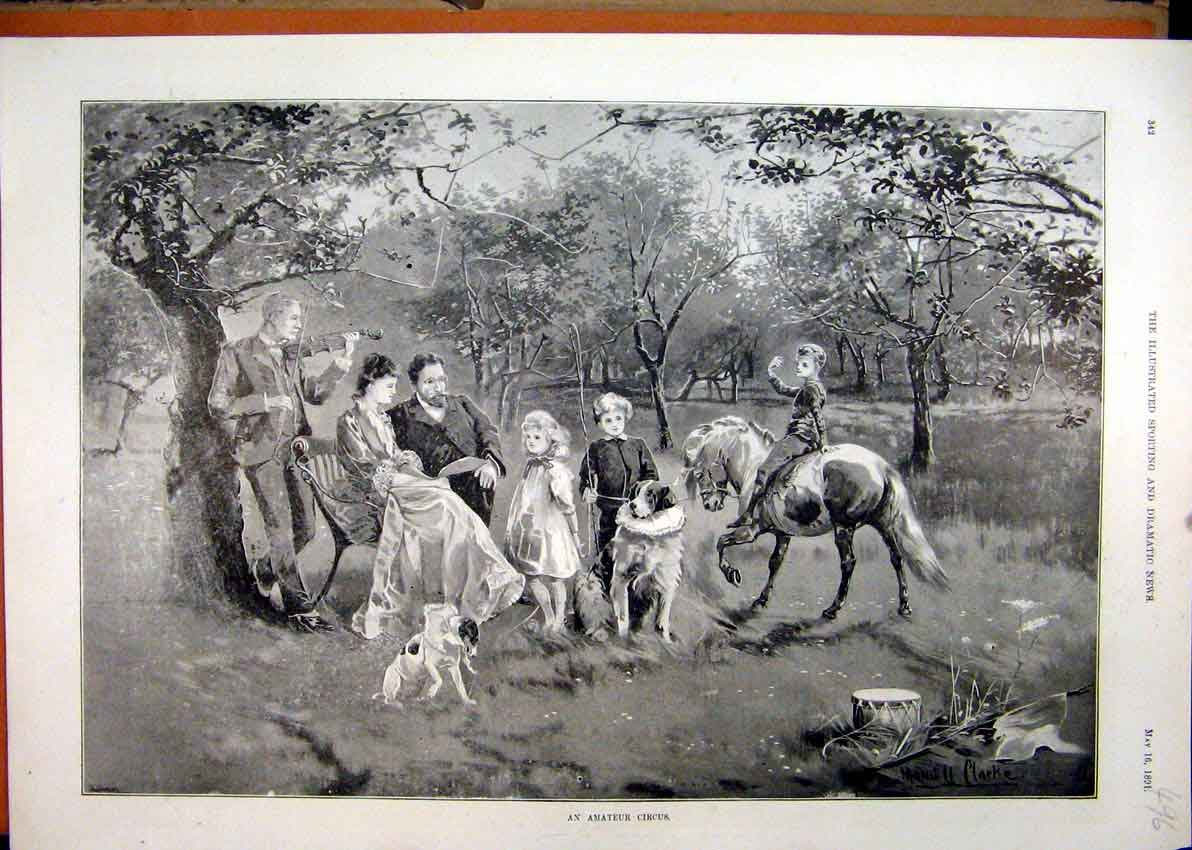 Print 1891 Amateur Circus Family Music Horse Dog Country 96Mar1 Old Original