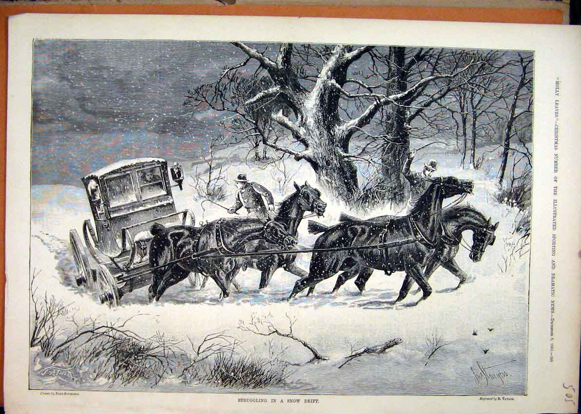 Print 1883 Horses Carriage Struggling Snow Drift 05Mar1 Old Original