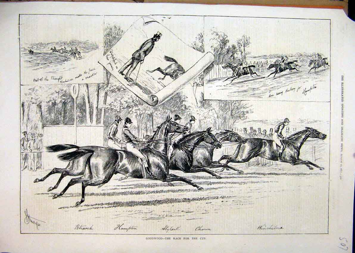 Print 1877 Goodwood Horse Race Cup Skylark Hampton 07Mar1 Old Original