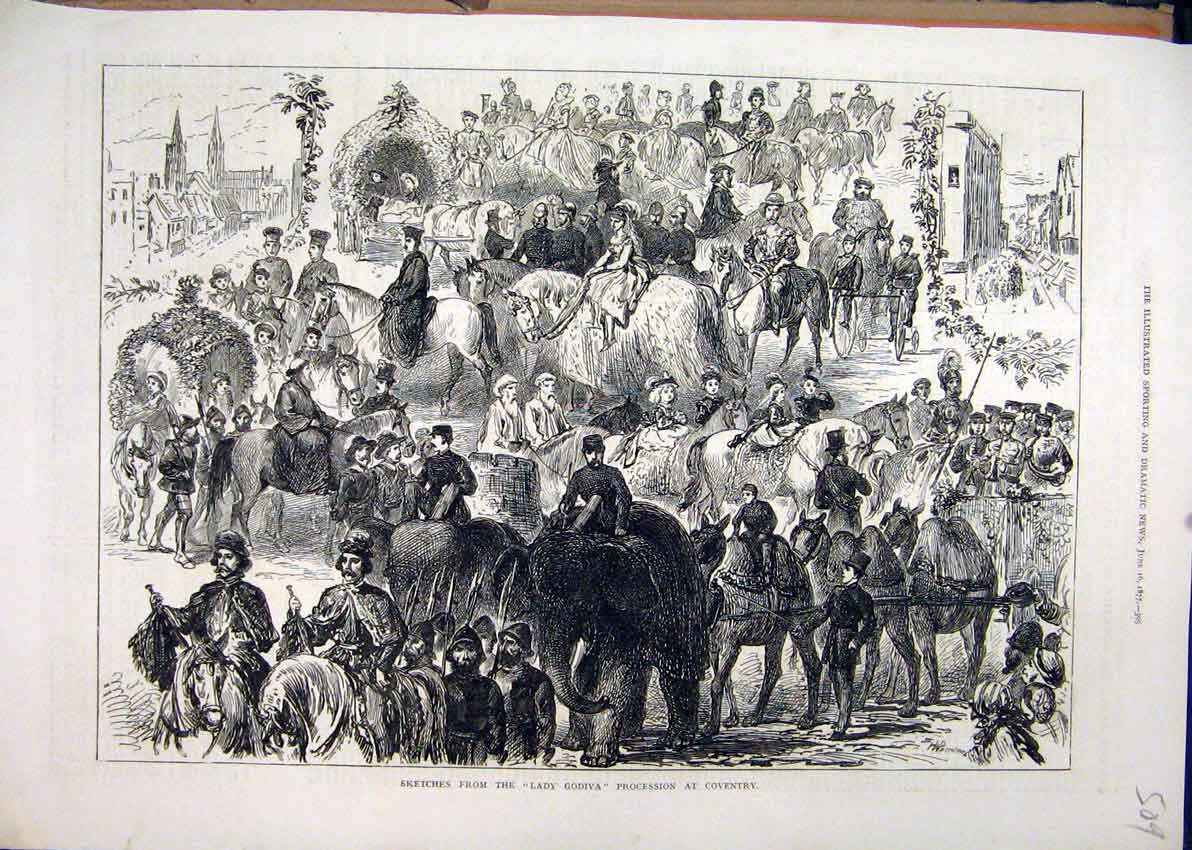 Print 1877 Sketches Lady Godiva Procession Coventry Elephant 09Mar1 Old Original