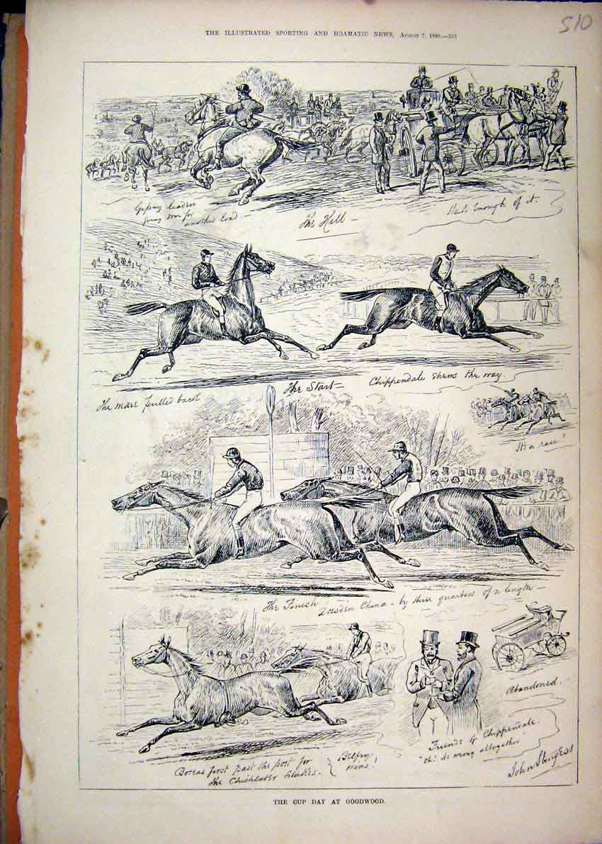 Print 1880 Horse Racing Cup Day Goodwood Carriage Sketches 10Mar1 Old Original