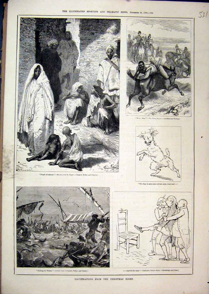 Print Christmas 1879 People Akazar Horse Fishing Tunny Dog 21Mar1 Old Original