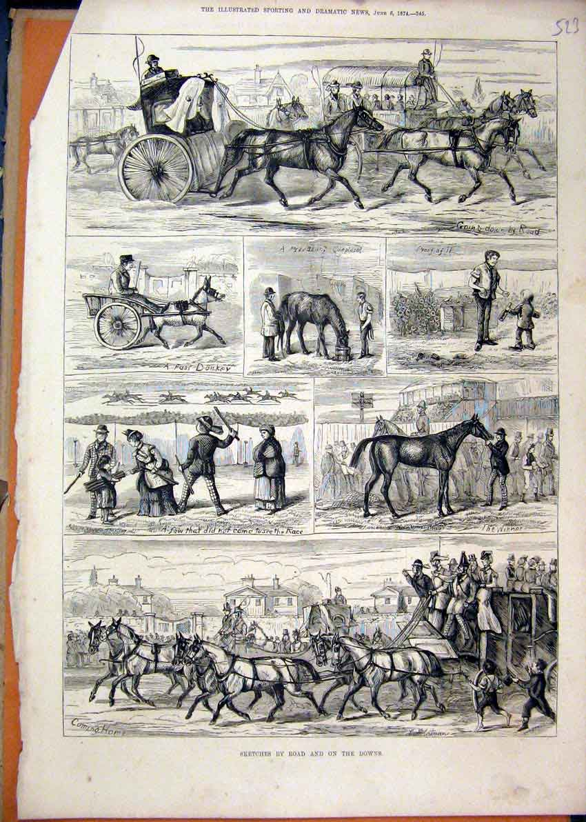 Print 1874 Sketches Horses Coach Donkey Winner Race Children 23Mar1 Old Original