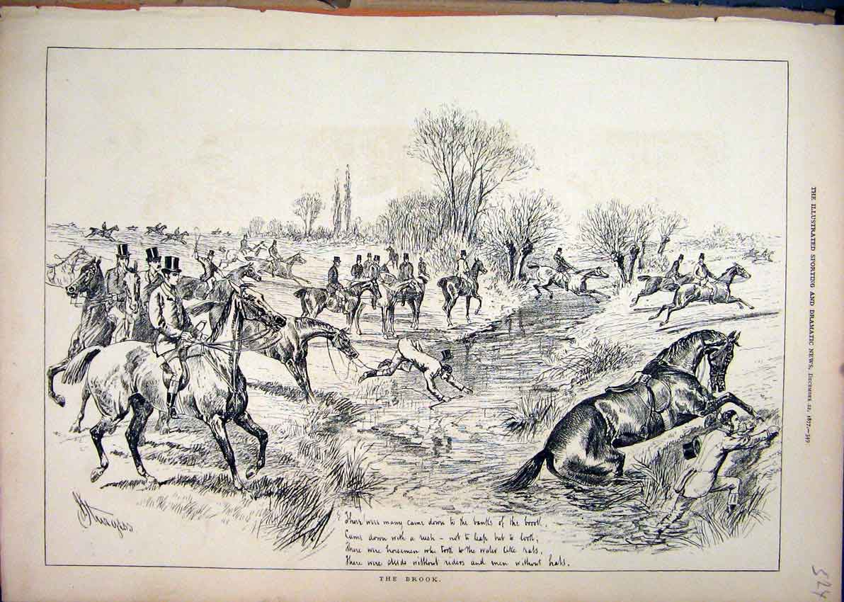 Print 1877 Fox Hunting Horses Jumping Brook Water Falling 24Mar1 Old Original