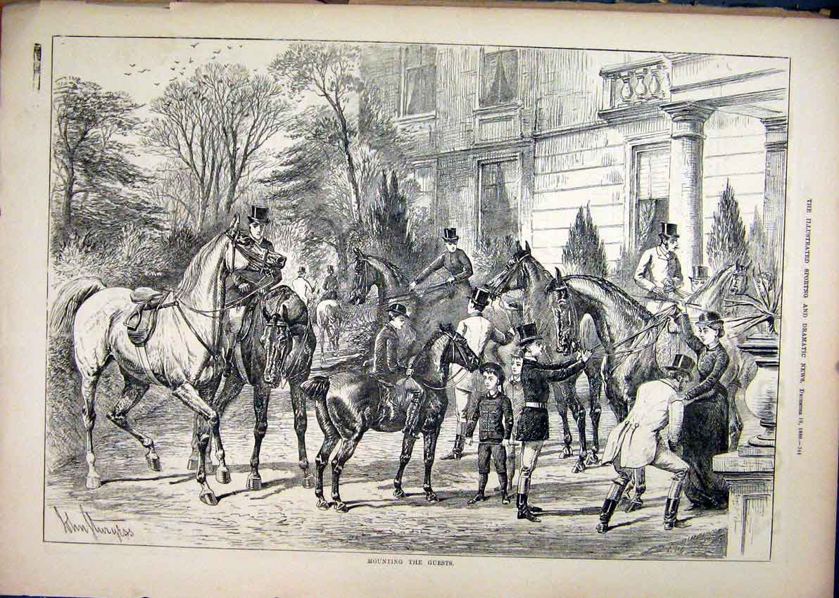 Print Mounting Guests 1880 Horses Building Country 24Amar1 Old Original