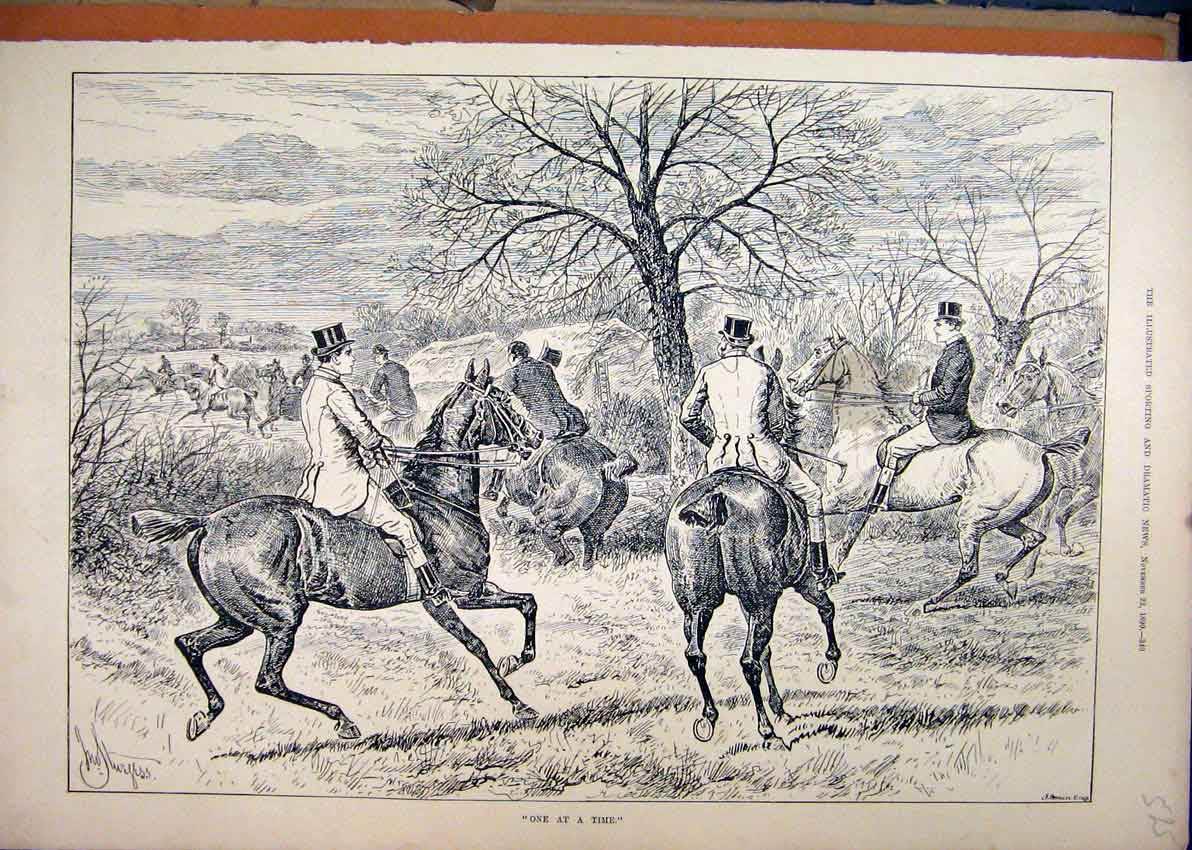 Print 1890 Horses Hunting Jumping Men Trees Country Scene 25Mar1 Old Original