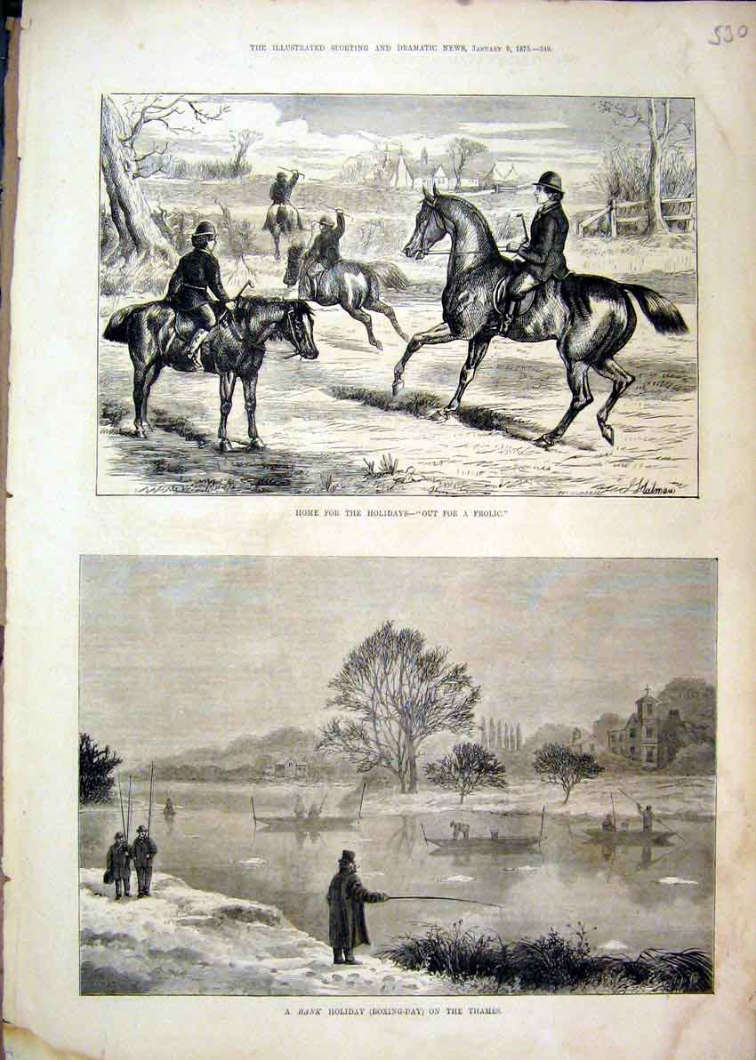 Print 1875 Bank Holiday River Thames Fishing Boat Horses 30Mar1 Old Original