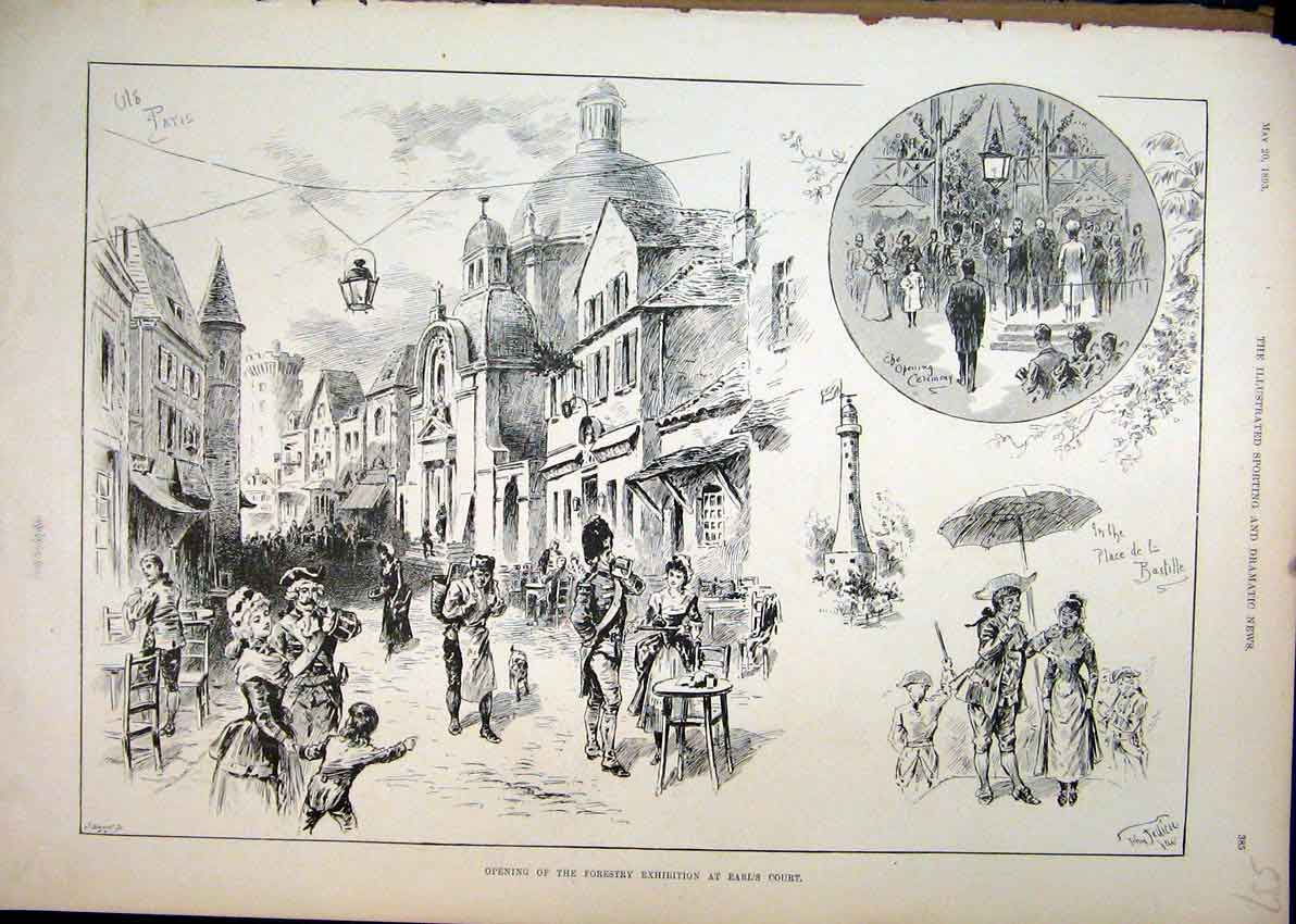 Print 1893 Opening Forestry Exhibition Earls Court Bastille 37Mar1 Old Original
