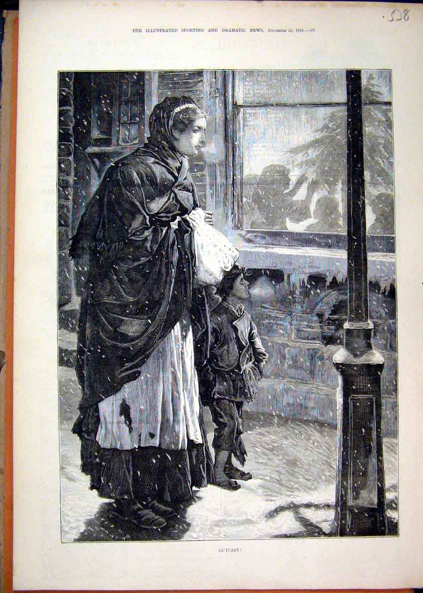 Print 1883 Poor Woman Child Street Snow Christmas Fine Art 38Mar1 Old Original