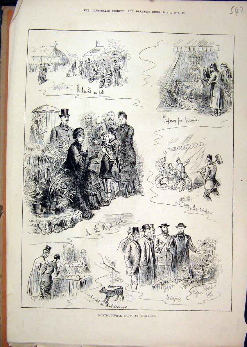 Print 1879 Horticultural Show Richmond Fete Judging Sketches 42Mar1 Old Original