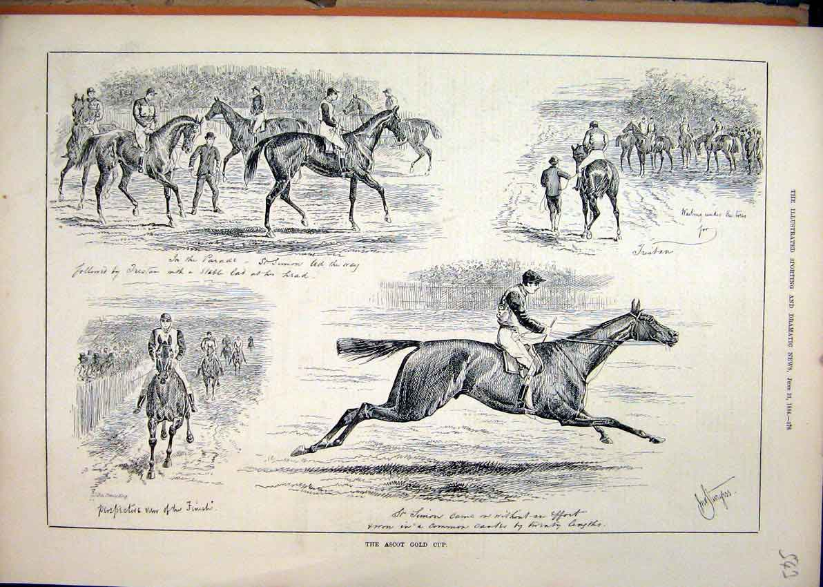 Print 1884 Horse Racing Ascot GCup Simon Parade 43Mar1 Old Original