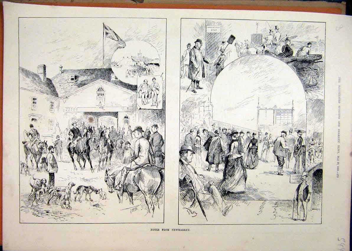 Print 1888 Newmarket Horse Racing Stables Dog 44Mar1 Old Original