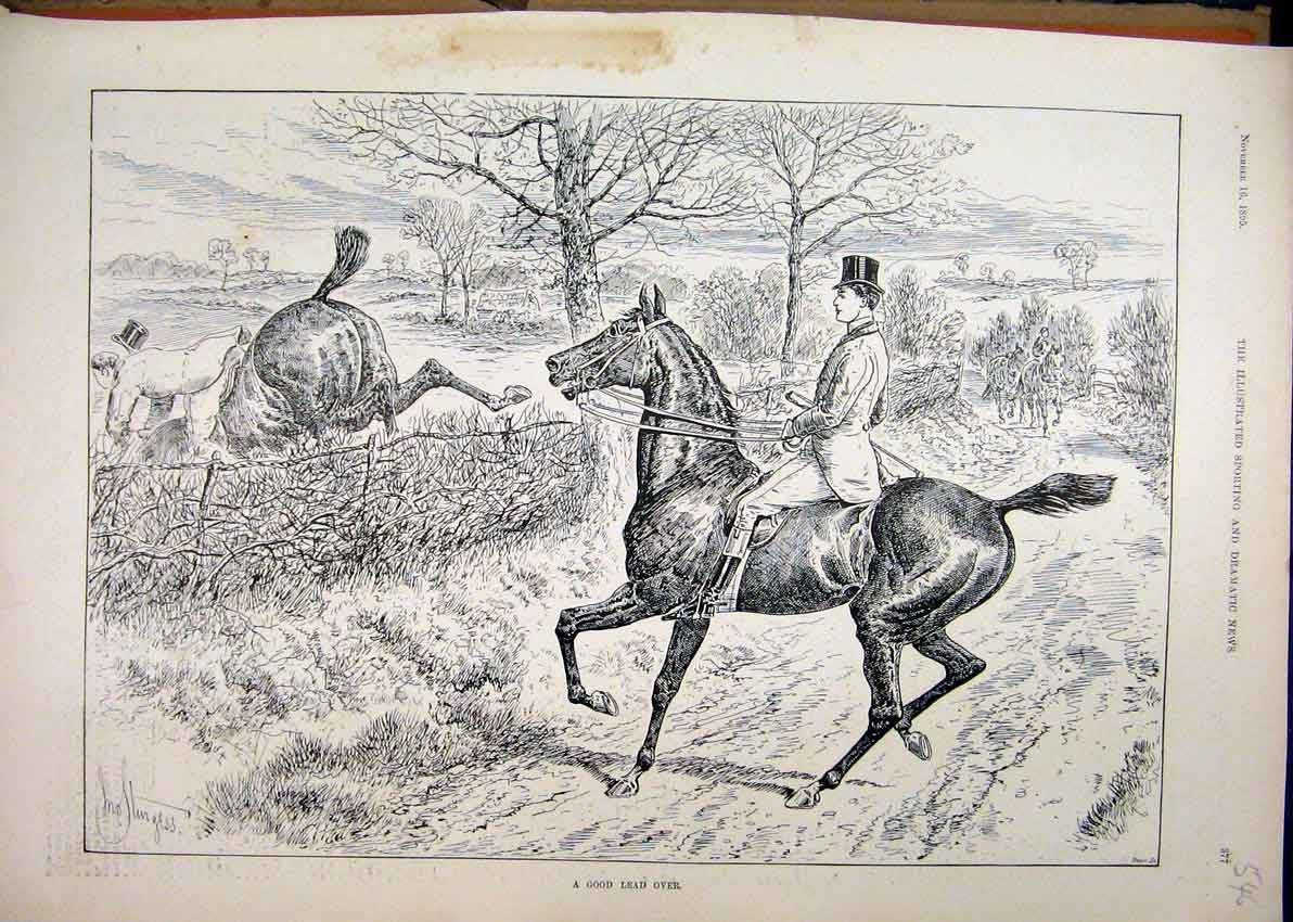 Print Horses Rider Jumping Fence 1895 Man Falling Country 46Mar1 Old Original