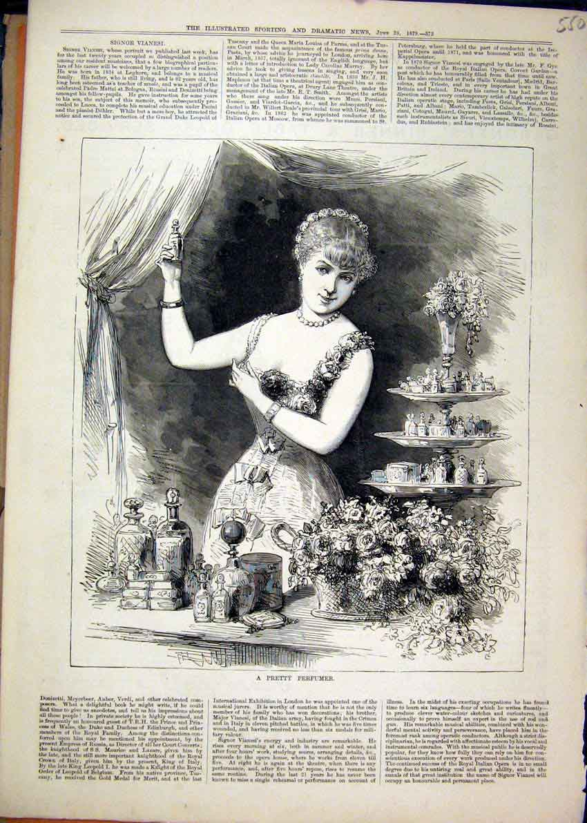 Print Woman Pretty Perfumer 1879 Flowers Selling 50Mar1 Old Original