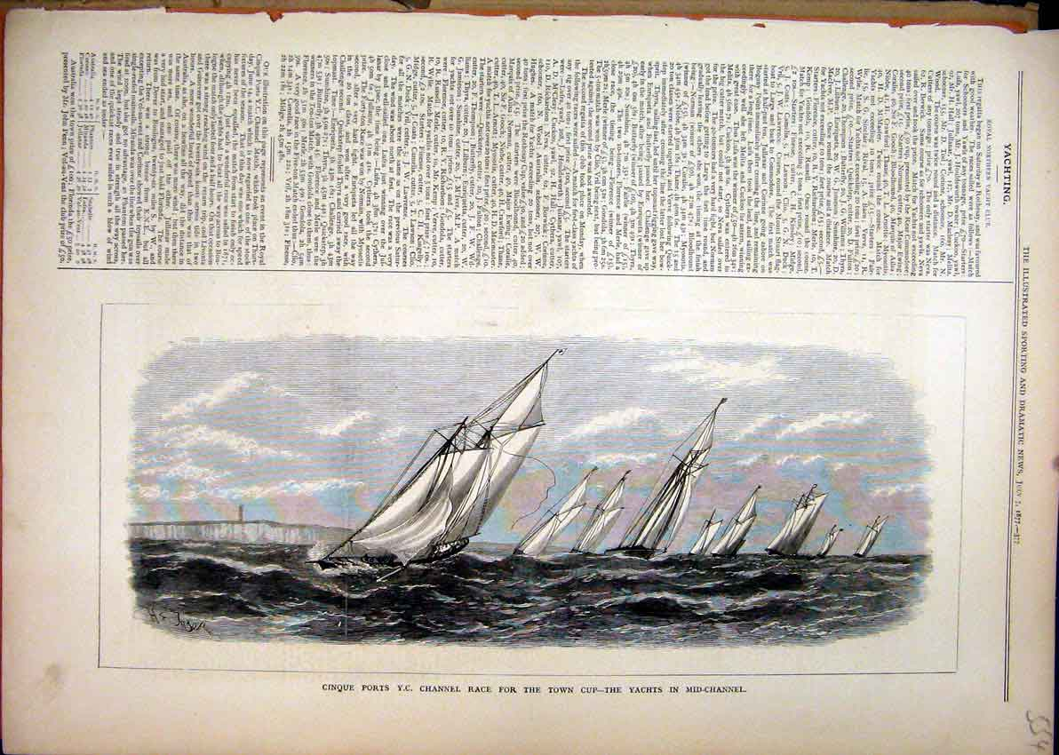 Print Cinque Ports Channel Race 1877 Town Cup Yachts Channel 54Mar1 Old Original