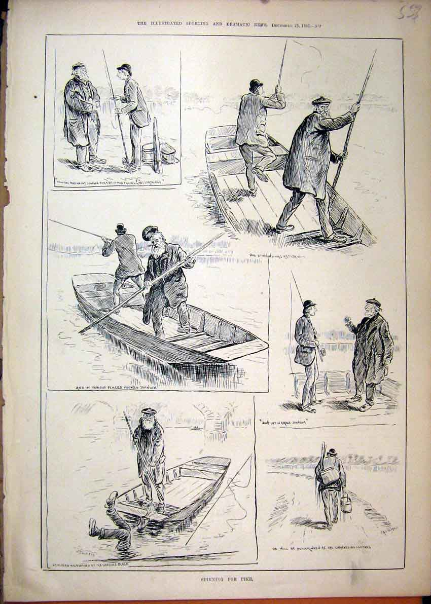 Print Pike Fishing 1886 Boat River Rod Johnson Sketches 57Mar1 Old Original