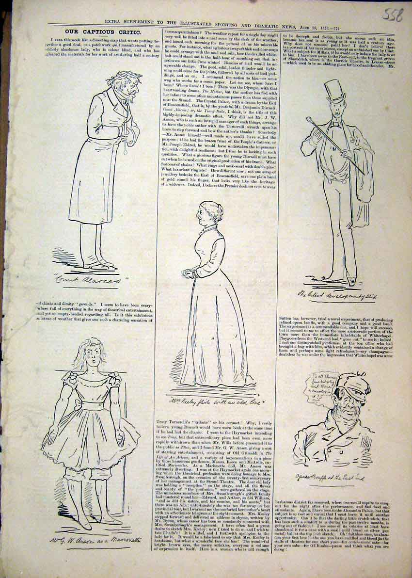 Print Captions 1879 Theatre Marionette Woman Man Top Hat 58Mar1 Old Original