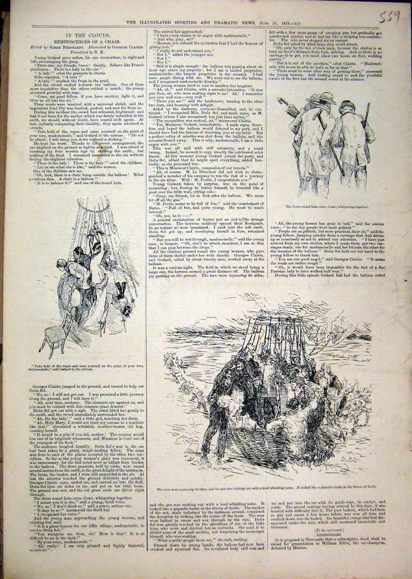 Print 1879 Hot Air Balloon Men Round Hats Chair 59Mar1 Old Original