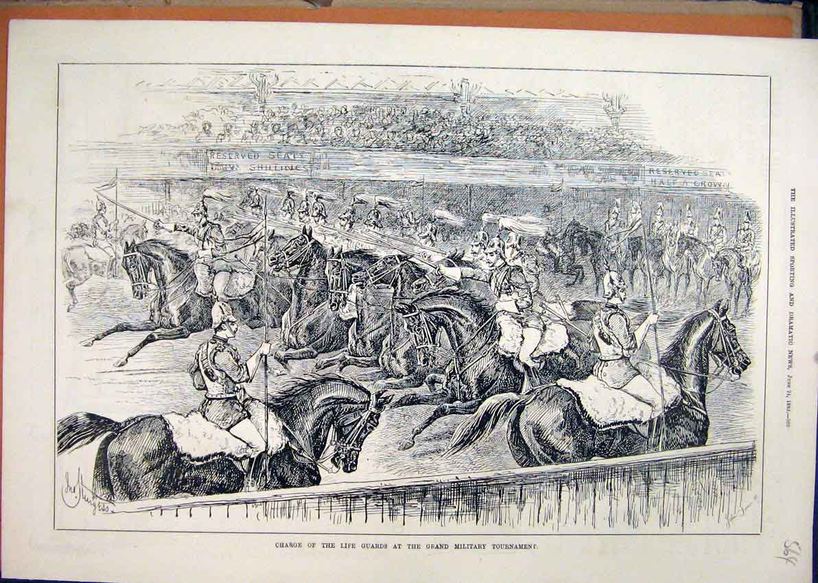 Print 1882 Charge Life Guards Grand Military Tournament 64Mar1 Old Original