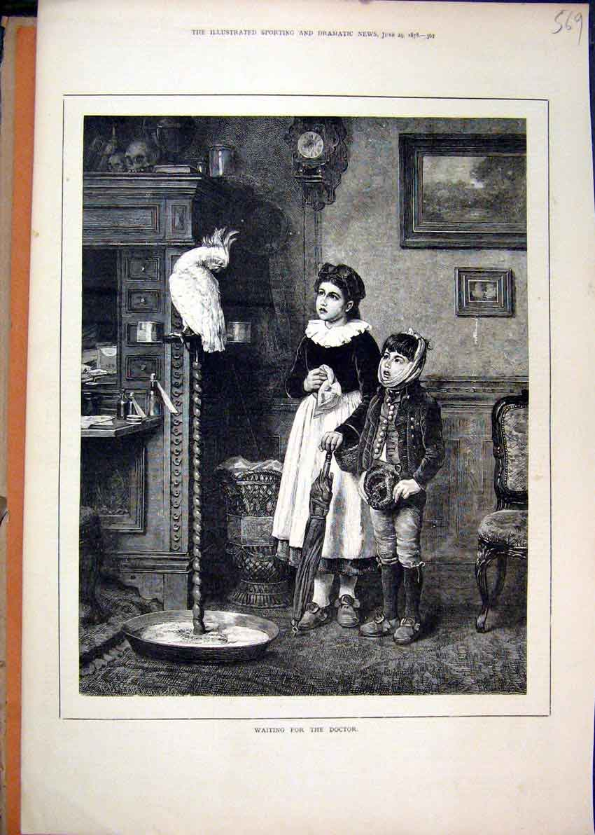 Print 1878 Young Girl Boy Waiting Doctor Parrot Stand 69Mar1 Old Original