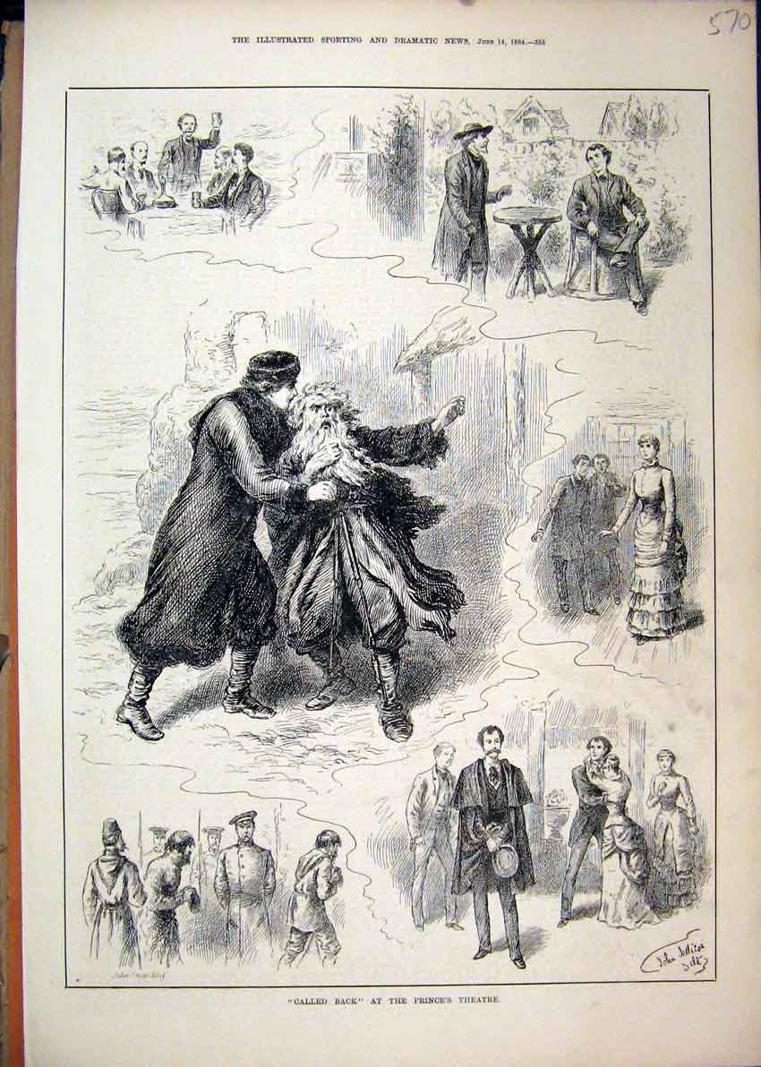 Print Scenes Called Back 1884 Prince Theatre Romance Soldier 70Mar1 Old Original