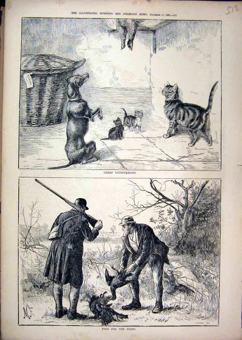 Print 1880 Men Shooting Birds Country Dog Cats 72Mar1 Old Original