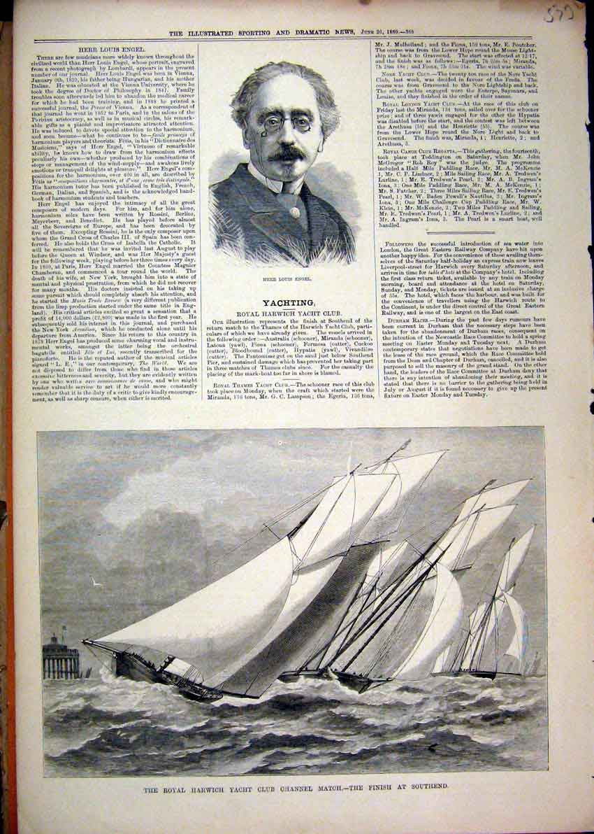 Print Portrait Herr Louis Engel 1880 Royal Harwich Yacht Club 73Mar1 Old Original