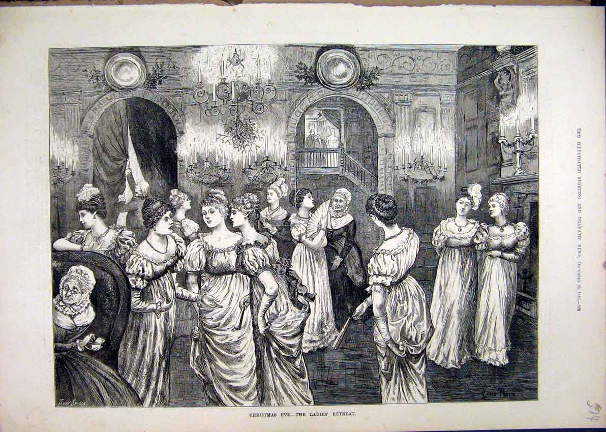 Print 1885 Christmas Eve Ladies Retreat Dancing Dresses 74Mar1 Old Original