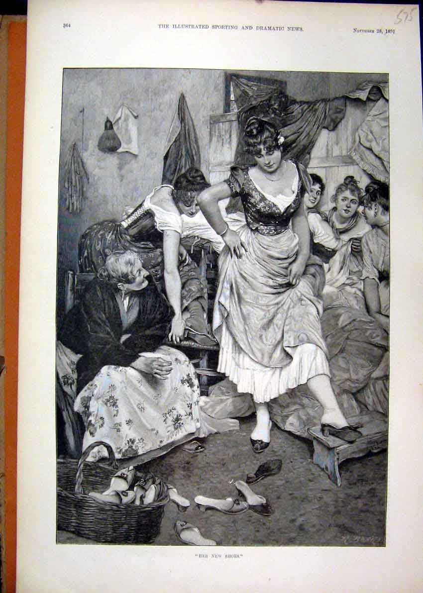 Print 1891 Woman Dresses Rich Trying Shoe Shop 75Mar1 Old Original