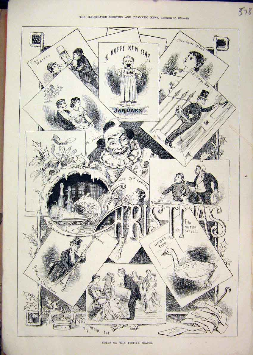 Print 1879 Sketches Christmas Goose Clown Dancing 78Mar1 Old Original