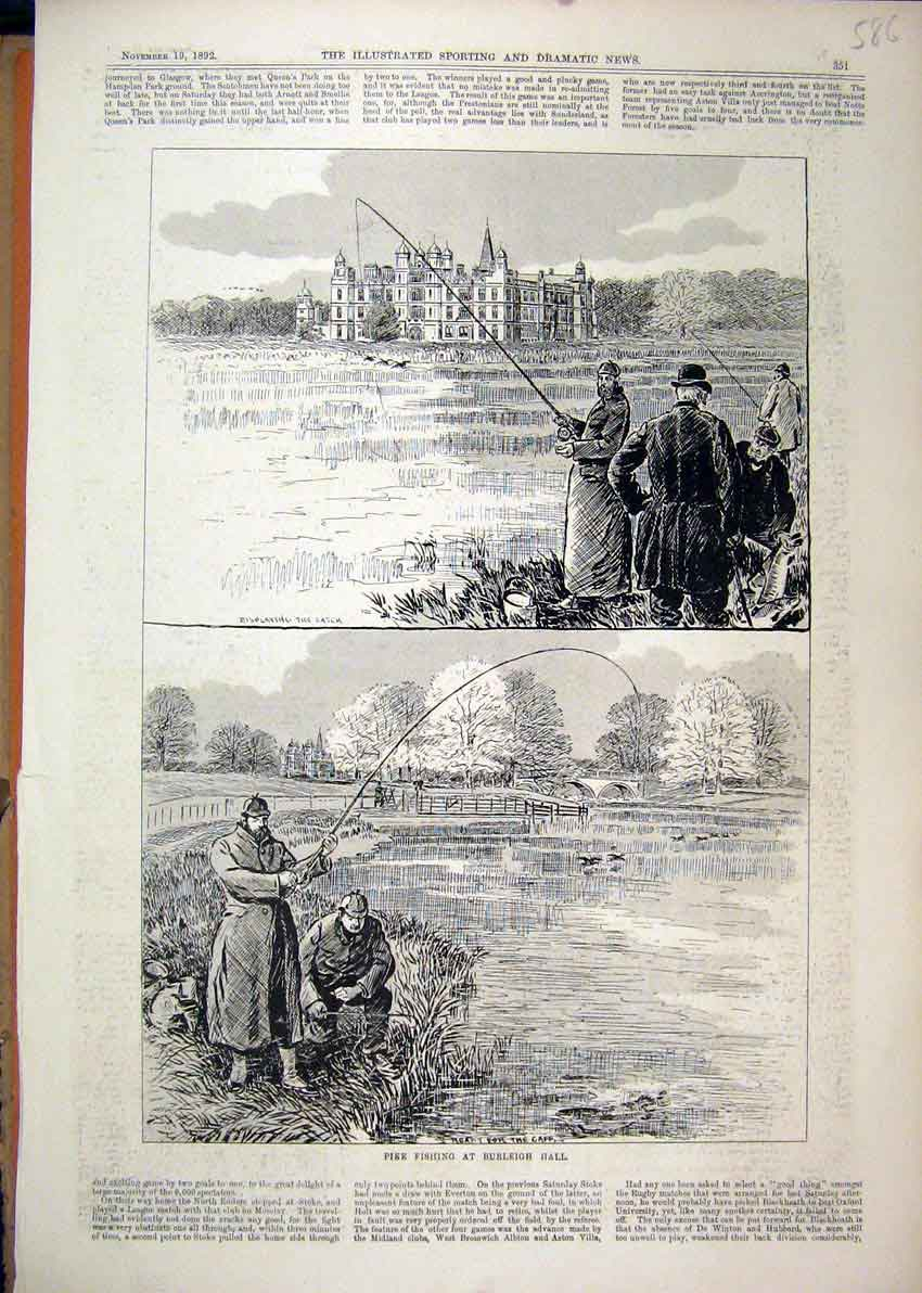 Print 1892 Pike Fishing Burleigh Hall Building River Man 86Mar1 Old Original