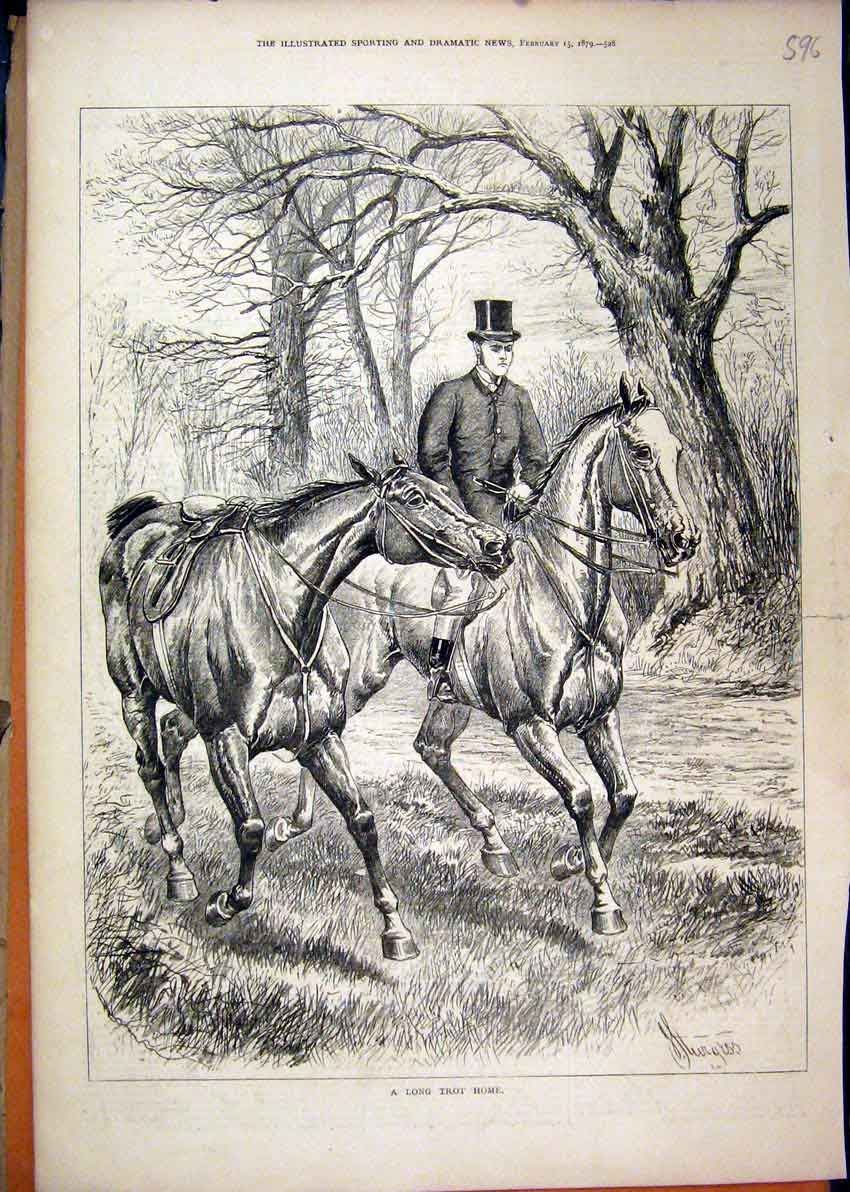 Print 1879 Man Leading Horse Trees Country Scene 96Mar1 Old Original