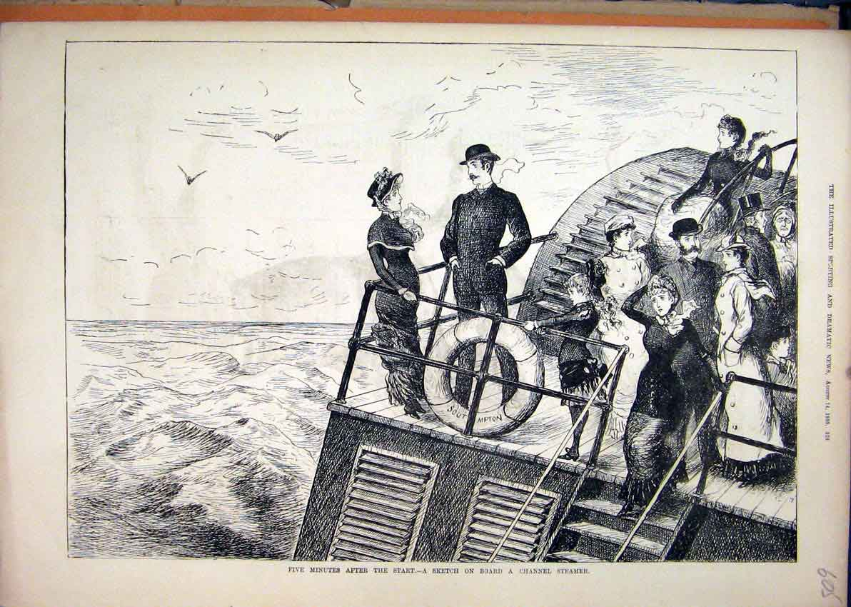 Print Sketch Board Channel Steamer 1880 Stormy Sea 05Mar1 Old Original