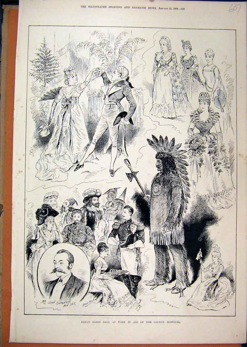 Print 1890 Fancy Dress Ball York County Hospital Costume 07Mar1 Old Original