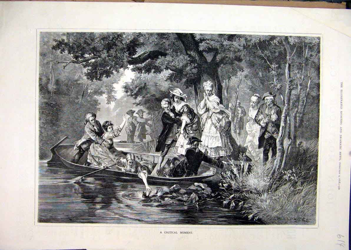 Print 1878 Men Woman Boat Lake Romance Country Scene 14Mar1 Old Original