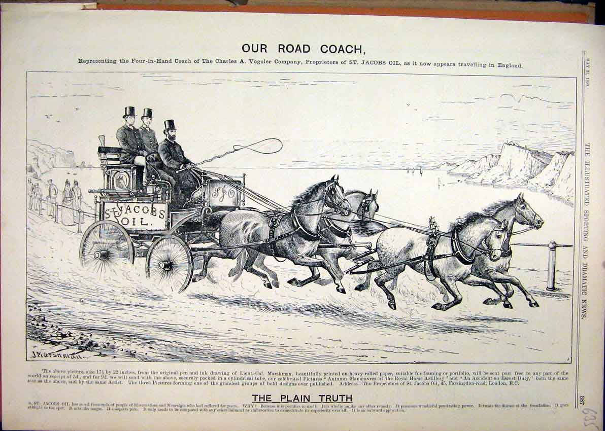 Print 1890 Advert Road Coach Jacobs Oil Charles Vogeler Horse 35Mar1 Old Original